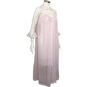 Vintage 1960s Lingerie Pink with Cream Lace Komar Peignoir Robe S