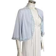 Vintage 1950s Sheer Sky Blue Ruffled Dream Lingerie Bed Jacket Bedjacket by Pinehurst L