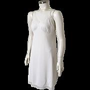 Vintage 1960s Lorraine Sheer Edged White Nylon Short Minidress Slip Lingerie 38