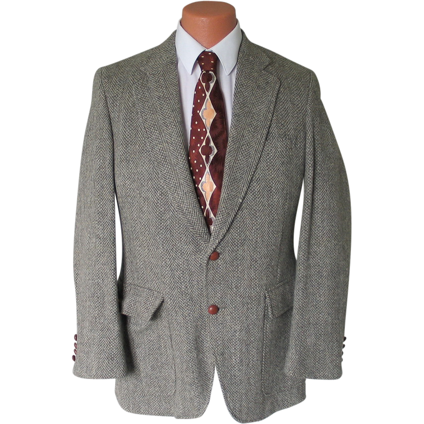 Vintage 1960s Gray Cream Olive Chevron Tweed Menswear Jacket Sportcoat Sport Coat