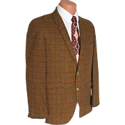 Vintage Swinging 1960s Hyde Park Gold Plaid Menswear Sportcoat Sport Coat Jacket L XL