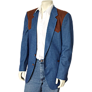 Vintage 1970s Faux Denim and Faux Suede Western Cowboy Country Jacket Sportcoat