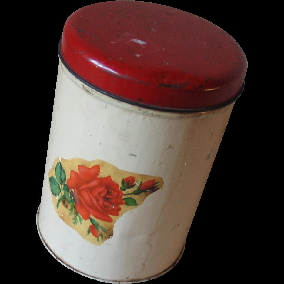 Vintage Red Rose Canister