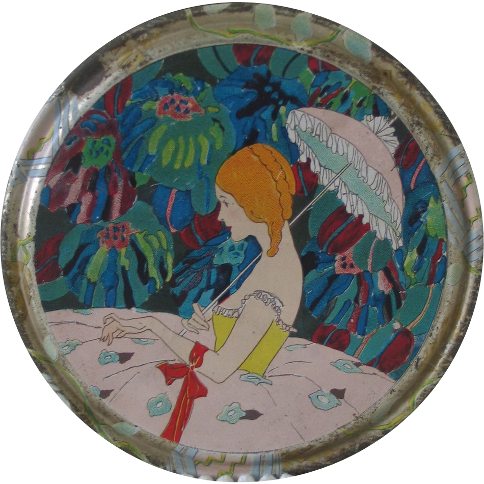 Vintage 1920s Watkins Body Powder Tin with  Parasol Lady Print Lid