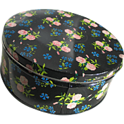 SUMMER SALE Large Vintage Biscuit Cookie Tin Canister Blue and Pink Flower Print on Black