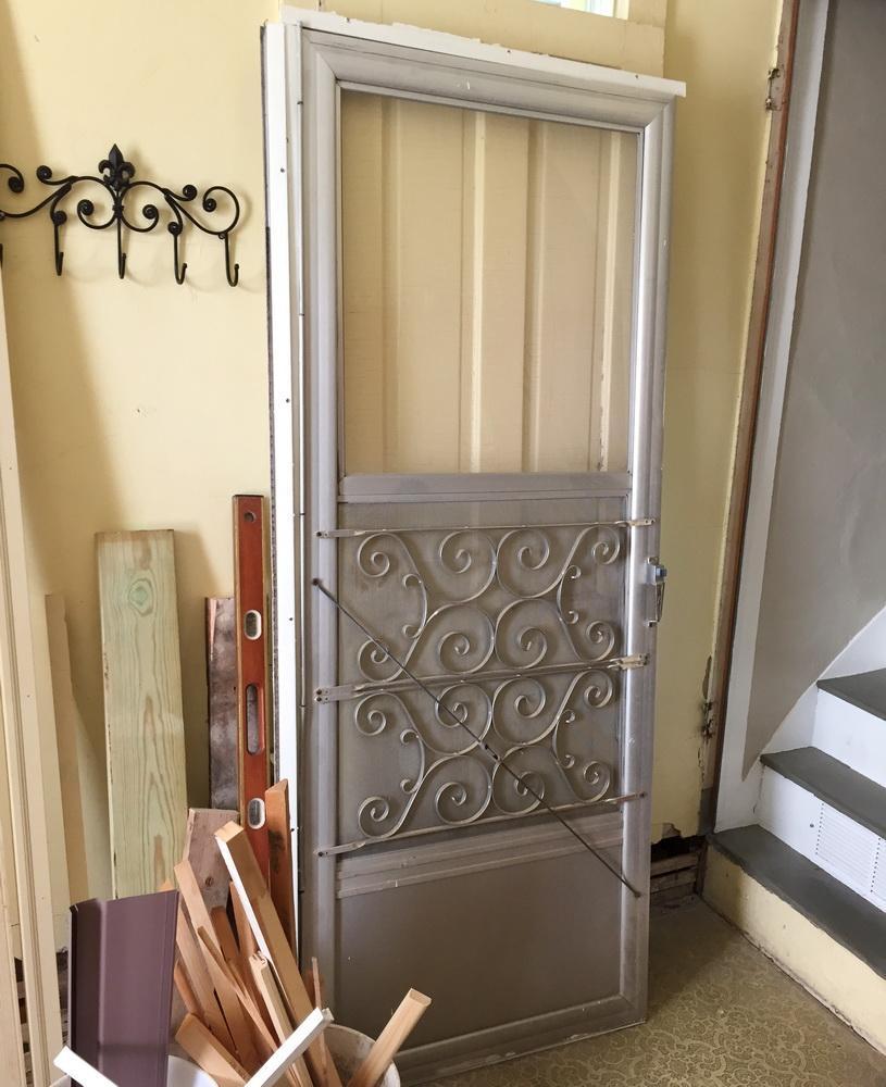 Vintage Mid Century Aluminum Mill Finish Storm Door With