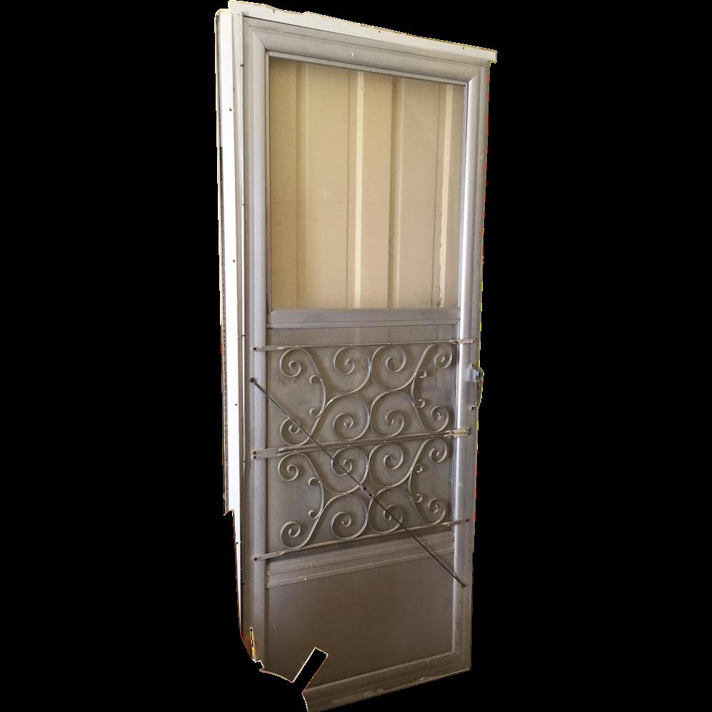 Aluminum Storm Door vintage mid century aluminum mill finish storm door with scroll
