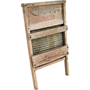 Vintage Brass Washboard Laundry Scrubbing Board by Champion