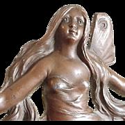 Authentic Art Nouveau Jugendstil Royal Zinn Bronze Fairy Cattails Waterlily Dresser Tray Rare