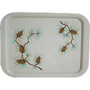 Vintage Mid Century Modern Winter Pinecones on Birch Ivory Metal Serving Tray