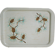 Vintage Mid Century Modern 1950s Winter Pinecones on Birch Creamy White Metal Serving Tray