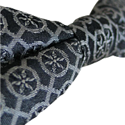 Vintage 1950s Black and Gray Foulard Jacquard Bow Tie Bowtie Clip On