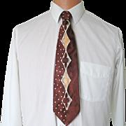 Vintage 1940s Brown Cream Russet Neck Tie with Polka Dots Harlequin Diamond Club Designs