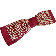 Vintage 1940s Beau Bow Tie of Harlequin Jacquard Mixed with Cream and Maroon Geometric Print