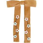 Vintage 1950s Light Brown Rockabilly Swing String Tie Bowtie with Flowers and Faux Pearls Rare