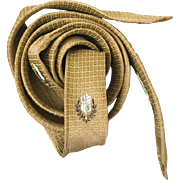 Vintage 1960s Mod Gold Black Cream Jacquard Weave Skinny Neck Tie Necktie