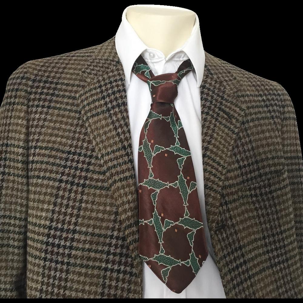 Vintage 1940s Dark Brown Forest Green Jacquard Necktie Neck Tie