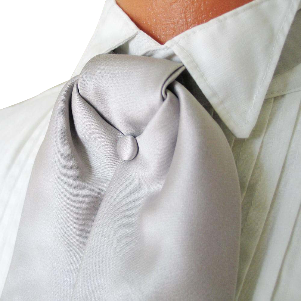 Vintage 1980s Silver Gray Satin Formal Wear Wedding Tuxedo Cravat Ascot Neck Tie Necktie