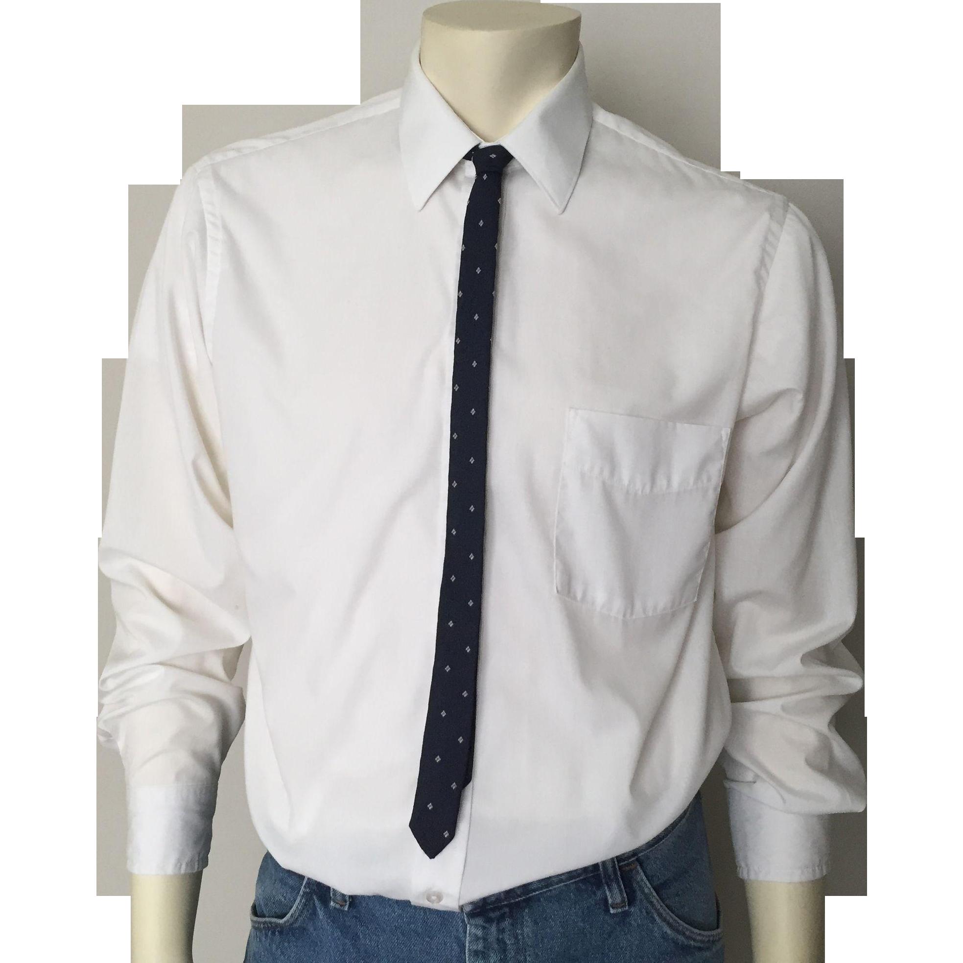 Vintage 1960s Skinny Navy Blue Jacquard Necktie with Tiny Cream Harlequin Diamond Shaped Details