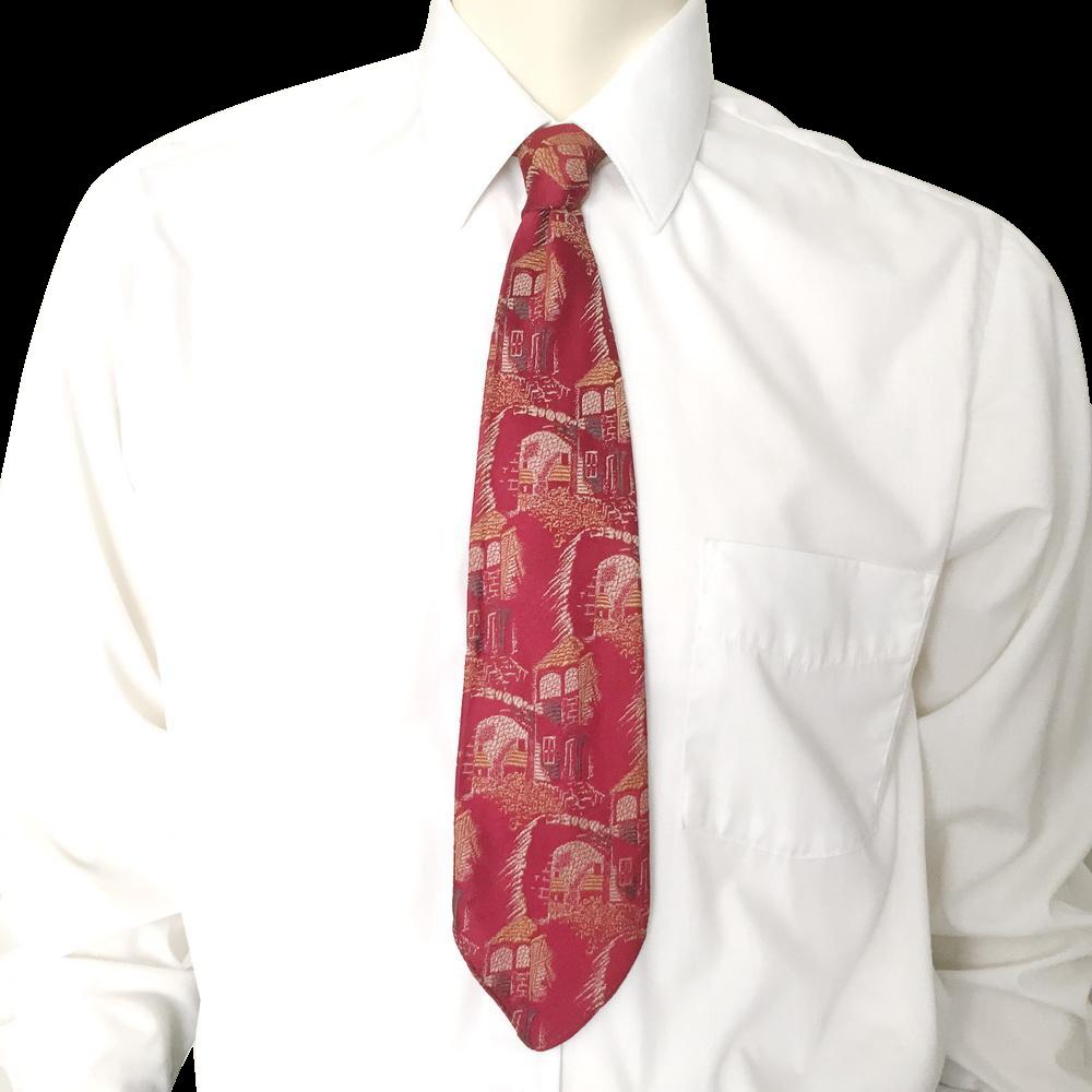 Vintage 1950s Red Towncraft Cravats Neck Tie Necktie Jacquard Village Landscape Design