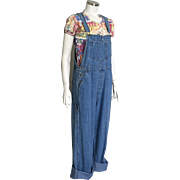 Vintage 1980s Paul Harris Blue Denim Overalls L