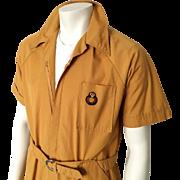 Vintage 1970s Gold Menswear Short Sleeve Jumpsuit Overalls Work Clothes Uniform M