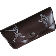 Vintage 1960s Sports Themed Novelty Print Eyeglass Holder Case