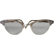 Vintage 1960s Artcraft Metallic Browline Eyeglass Frames Eyeglasses with Flower Design