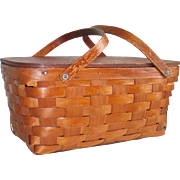Vintage Woven Bent Wood Double Handled Picnic Basket