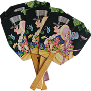 Vintage Art Deco Courting Couple Novelty Print Die Cut Set of Five Hand Fans with Bridge Card Tally Henderson Line Rich Dark Colorway