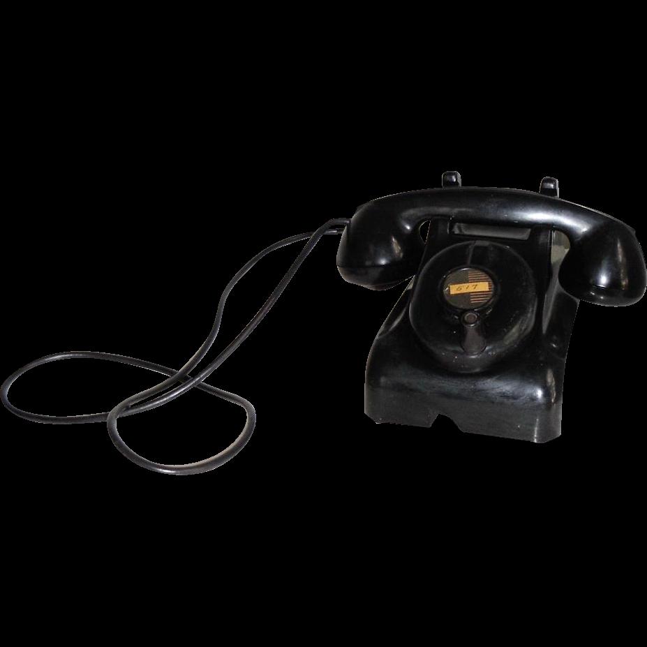 Vintage Black Early Plastic Leich Crank Table Desk Telephone