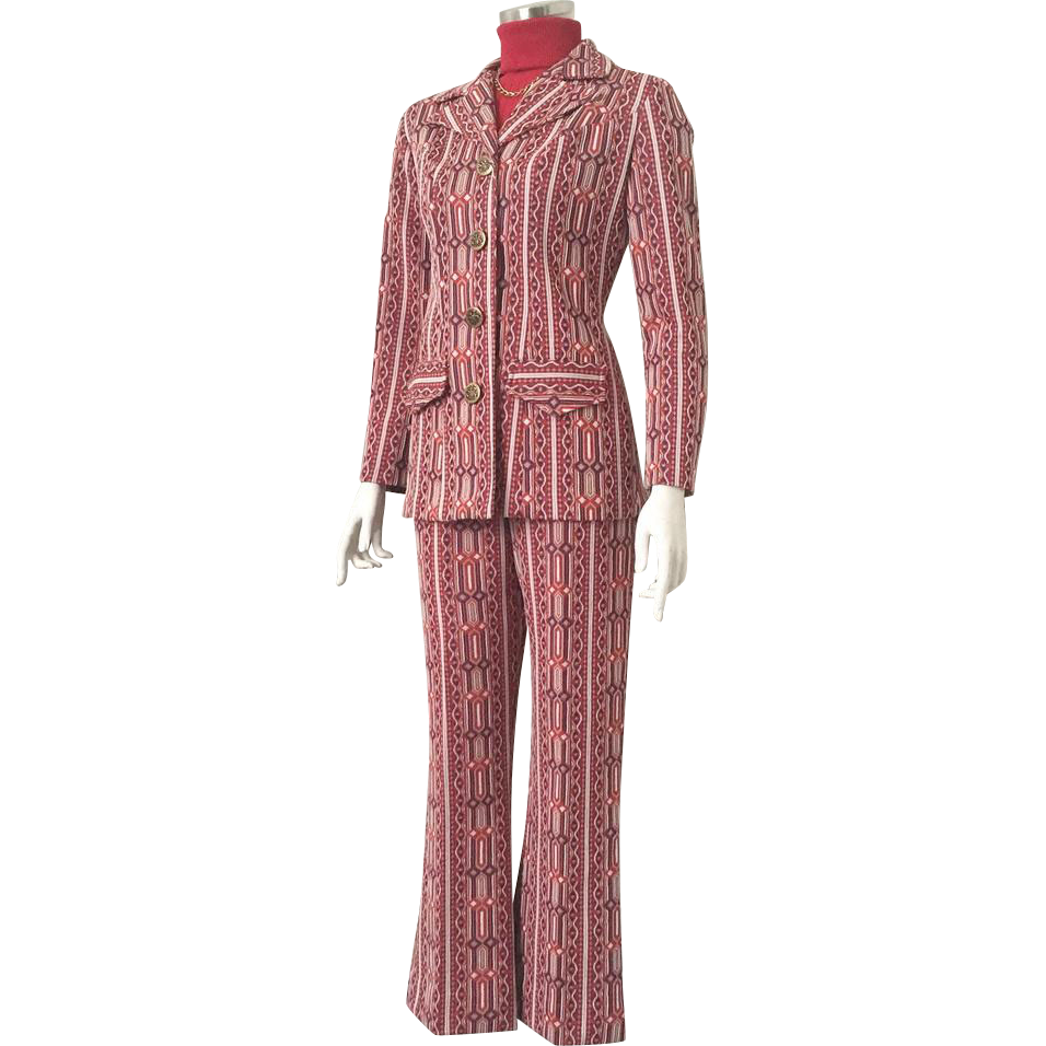 Vintage 1970s Red White and Blue Textured Bell Bottom Pant Suit Pantsuit Georgia Griffin Miami M