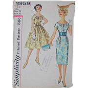 Vintage 1959 Simplicity 2959 Sewing Pattern for Fit and Flare Dress and Wiggle Dress