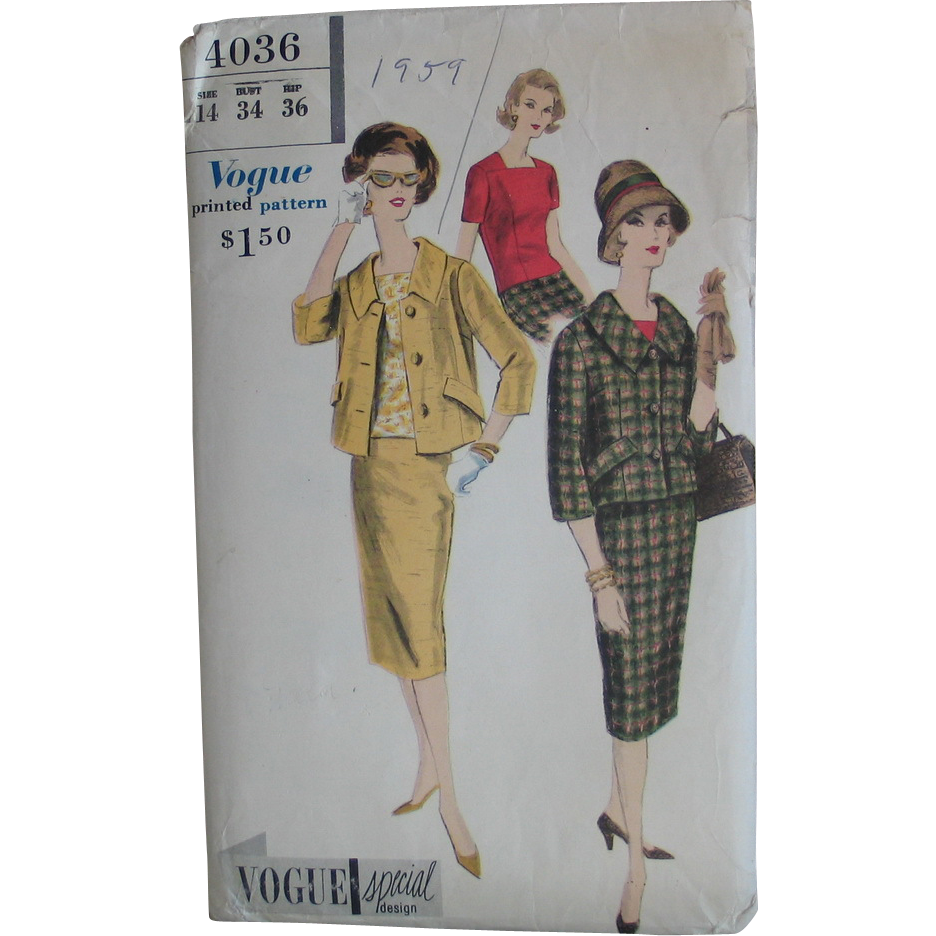 Original Vintage 1959 Vogue Special Design Pattern 4036 Suit and Blouse