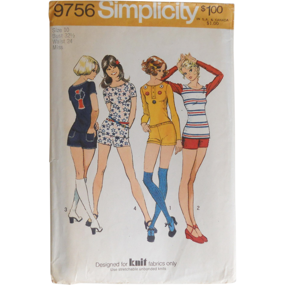 Vintage 1970s Simplicity Sewing Pattern 9756 Hot Pants Short Shorts T Shirt