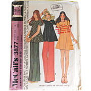 Vintage 1973 McCall's Carefree Pattern Mini Dress Top Pants #3877