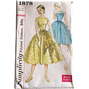 Vintage 1956 Simplicity Fit and Flare Party Dress Pattern #1878