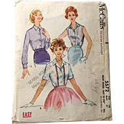 Vintage 1960 McCalls Sewing Pattern # 5572 Rockabilly Blouse Sleeveless Shortsleeve Longsleeve VLV