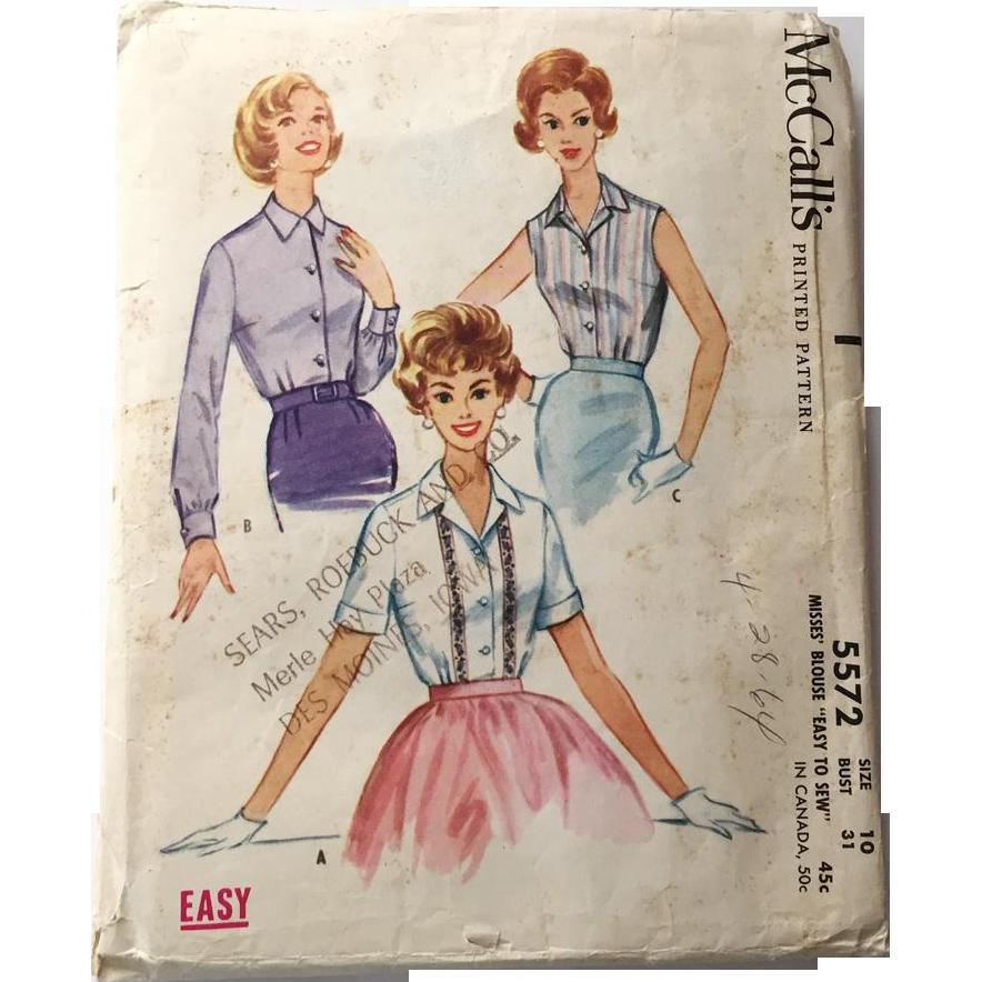 Vintage 1960 McCalls Sewing Pattern # 5572 Rockabilly Blouse Sleeveless Shortsleeve Longsleeve