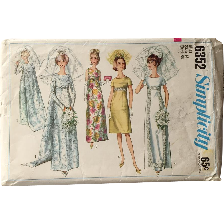 Vintage 1965 Empire Wedding Gown Bride Bridesmaids Attendants Dress With Train Simplicity Sewing Pattern 6352