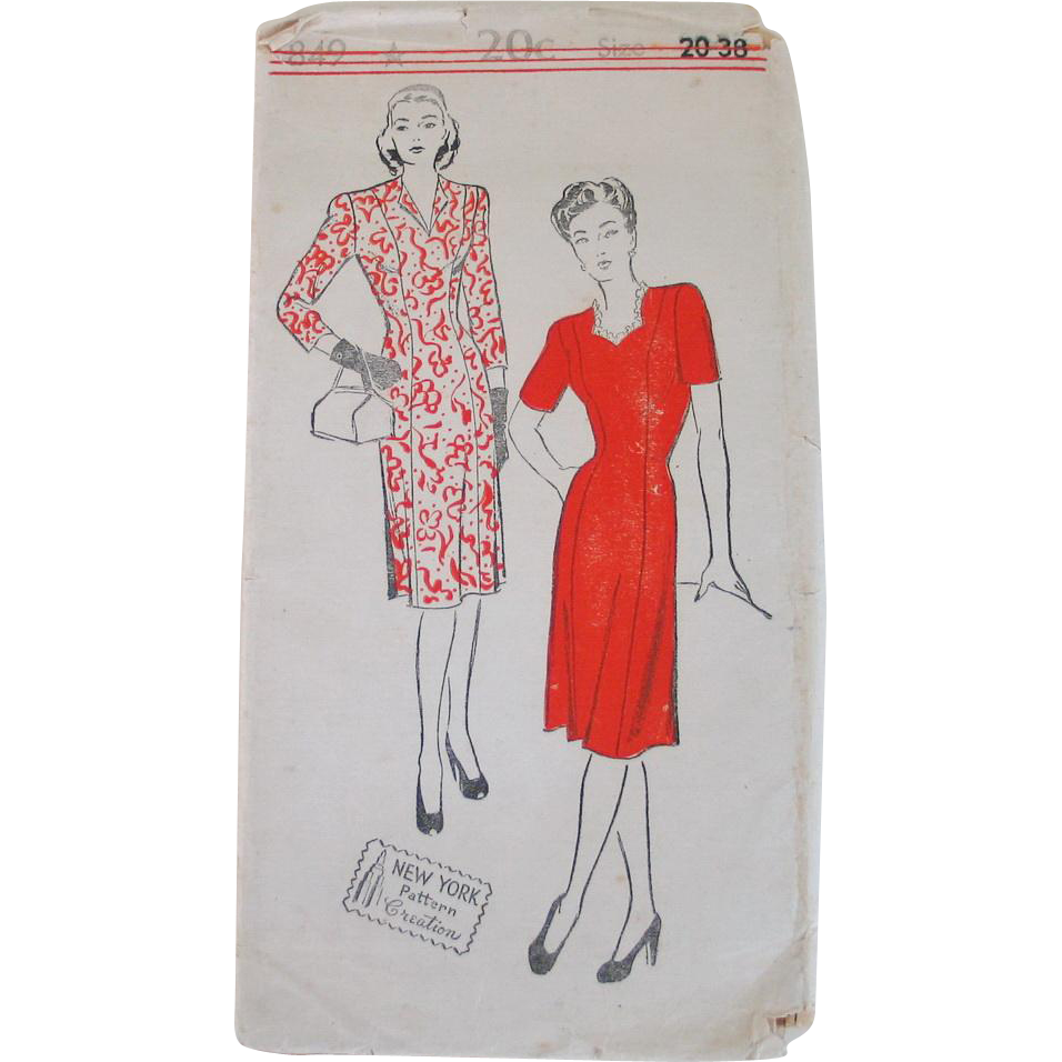 Rare Original Vintage 1940s New York Creation Pattern Princess Cut Dress Number 849 Bust 38