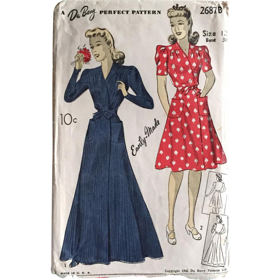 Vintage Authentic Original 1941 1940s Wrap House Dress Robe Housecoat Sewing Pattern DuBarry 2687B