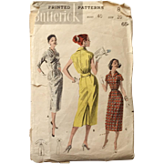 Authentic Original Vintage Slim Silhouette Dress Pattern by Butterick # 8128 Bust 40