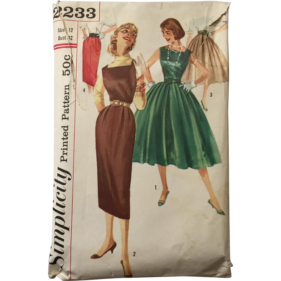 Vintage 1950s Fit and Flare Dress Skinny Jumper Full Skirt Pencil Skirt Sewing Pattern Simplicity # 2233
