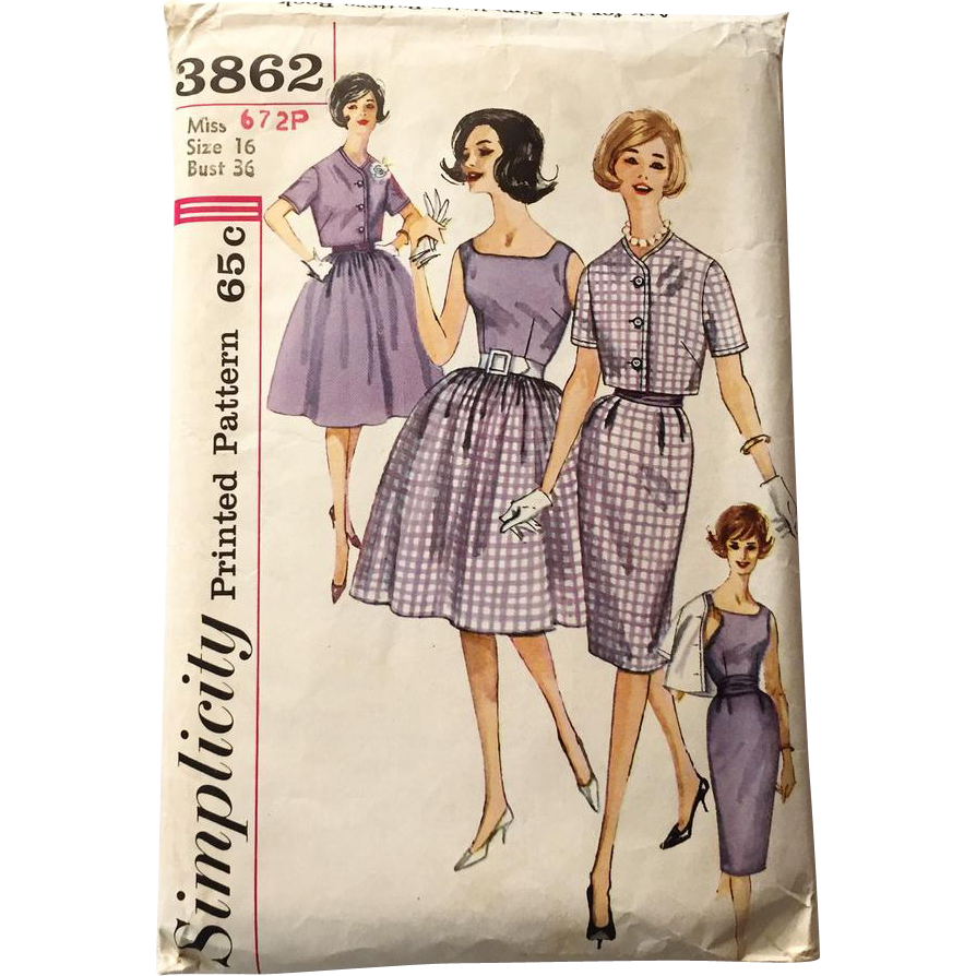 Vintage Early 1960s Simplicity Dress Skirt Blouse Jacket Pattern #3862