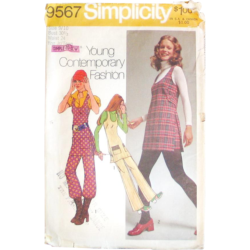 Vintage 1971 Simplicity Sewing Pattern 9567 Hot Pants Scoop Neck Tunic