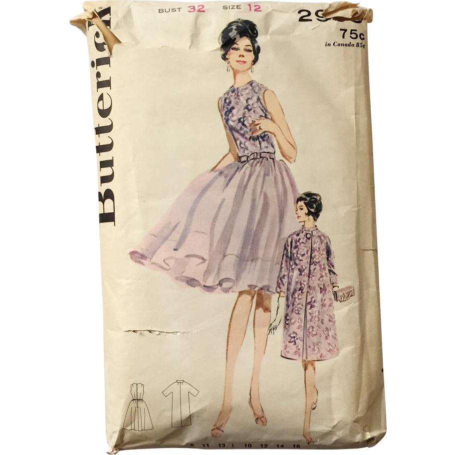 Vintage 1960s Butterick Sewing Pattern 2903 Jr and Miss Ensemble Cocktail Dress with Matching Evening Jacket