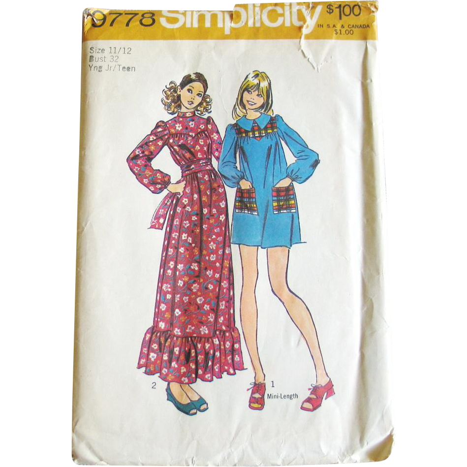 Vintage 1970s 1971 Yoked Mini Dress Maxi Dress Pattern Simplicity 9778