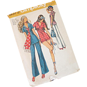 Vintage 1971 Simplicity Sewing Pattern 9372 Red White and Blue Summer Outfit