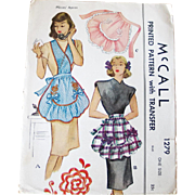 Vintage 1940s 1946 McCall McCalls Apron Pattern 1279